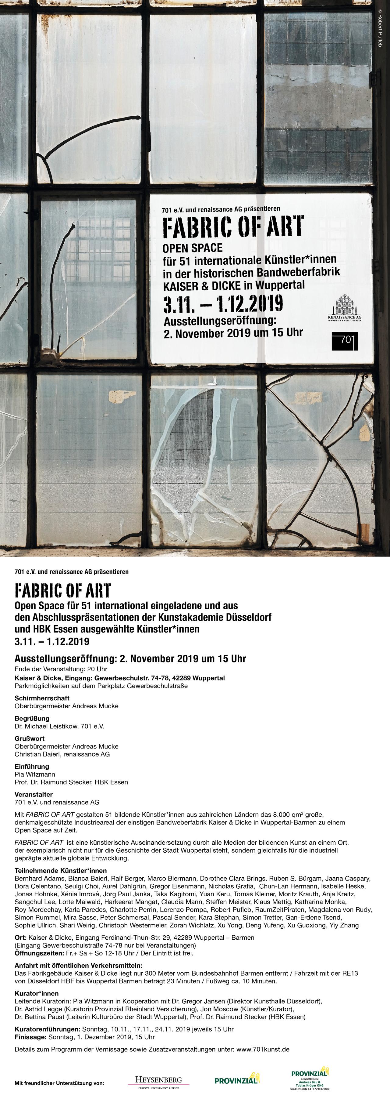 Fabric of Art - Open Space für 51 internationale Künstler*innen in historischer Wuppertaler Fabrik Kaiser & Dicke